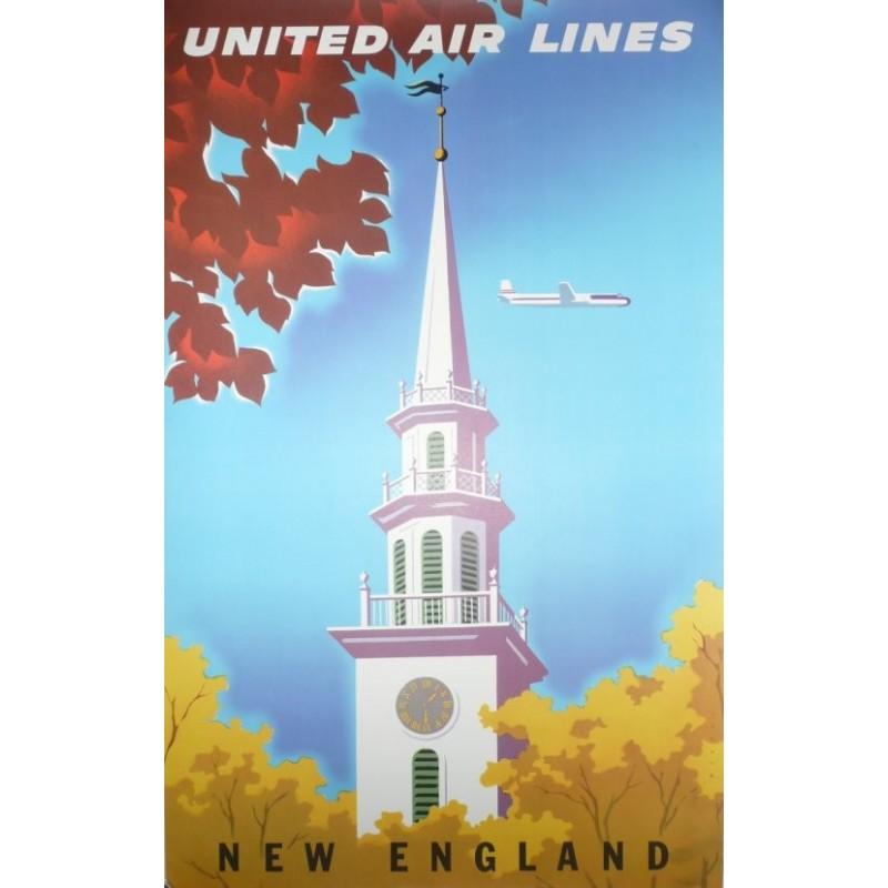 Affiche originale United Airlines New England - Joseph BINDER