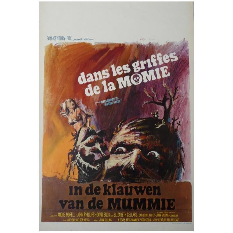 """Affiche originale cinéma belge horreur hammer """" Dans les griffes de la momie """" 20th century fox"""