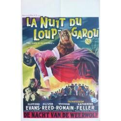 "Affiche originale cinéma belge horreur hammer "" La nuit du loup-garou "" Universal film"