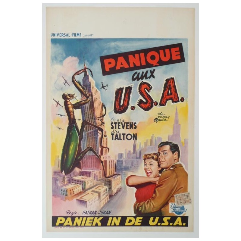 "Original vintage poster cinema belgium scifi science fiction "" Panique aux USA """