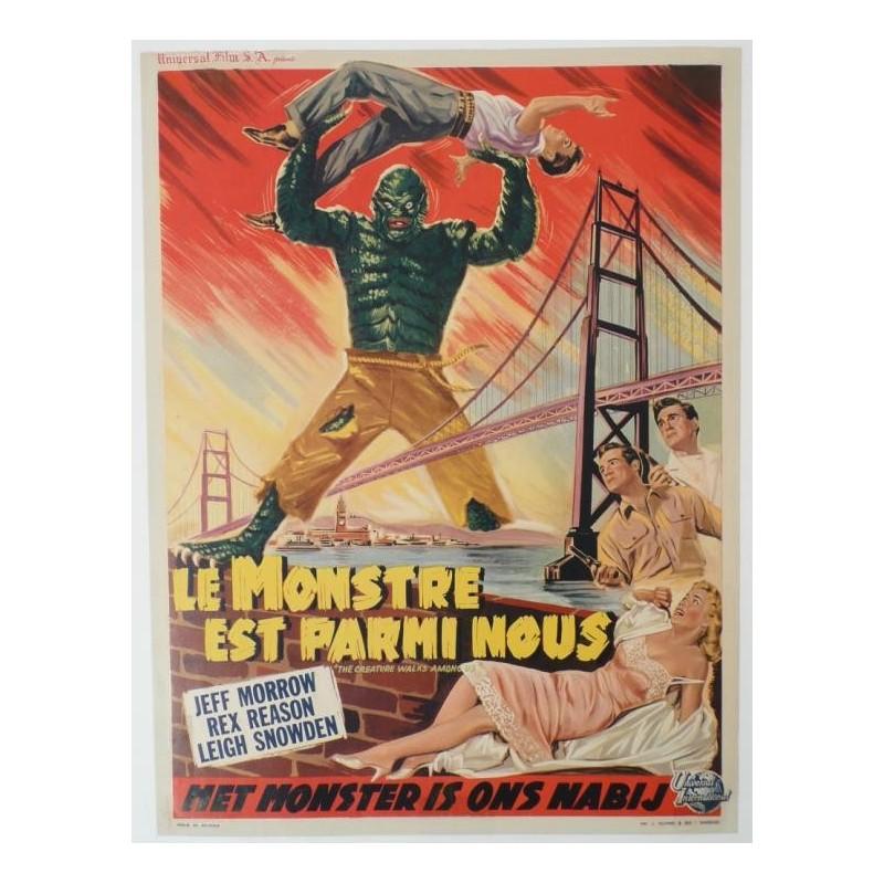 """Affiche originale cinéma belge scifi science fiction """" Le monstre est parmi nous """""""