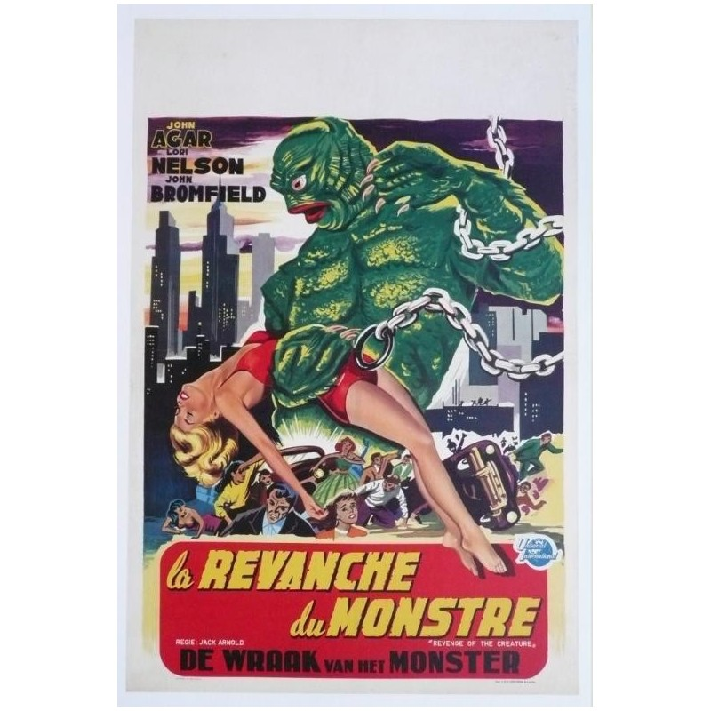 """Affiche originale cinéma belge scifi science fiction """" La revanche du monstre """" Universal"""