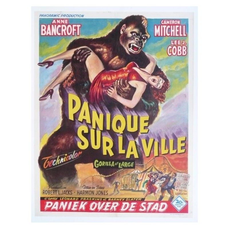 "Original vintage poster cinema belgium scifi science fiction "" Panique sur la ville "" 20th century fox"