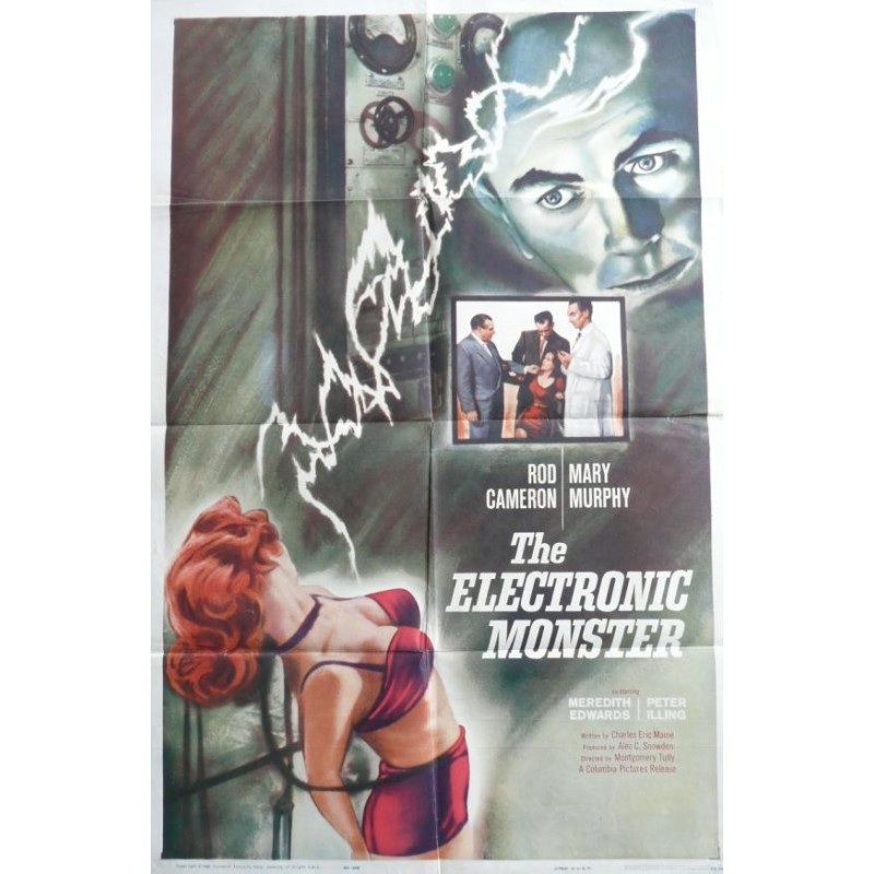 """Original vintage poster cinema USA horreur hammer  """" The electronic monster """" Columbia pictures"""
