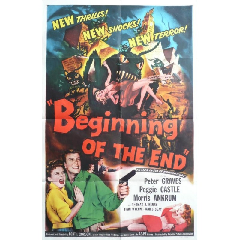 "Affiche originale cinéma USA science fiction scifi  "" Beginning of the end "" 1957 Republic pictures corporation"