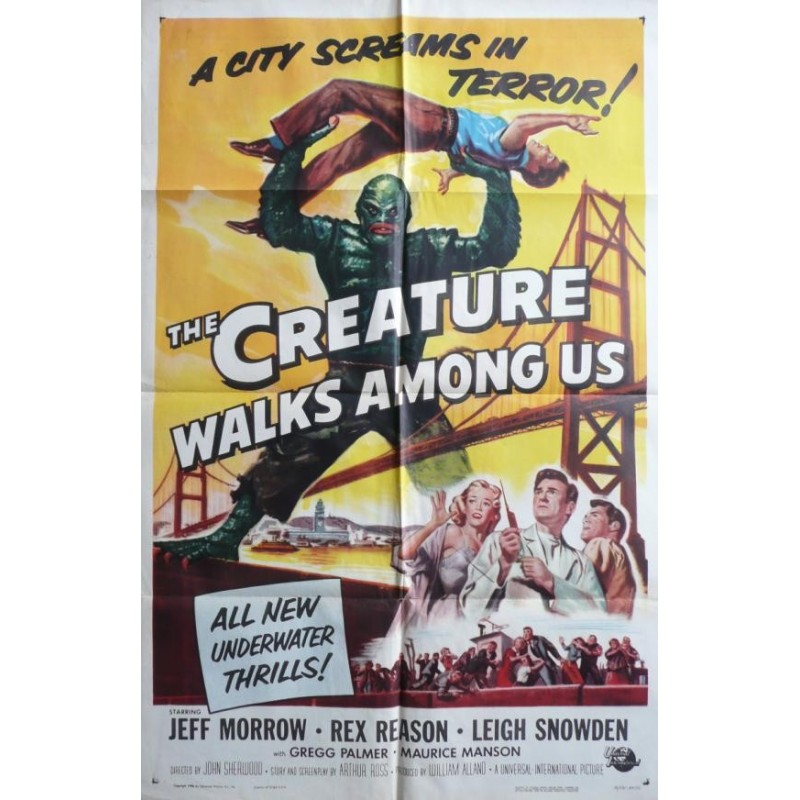 "Original vintage cinema poster USA scifi  "" The creature walks among us "" - 1956 - Universal pictures"