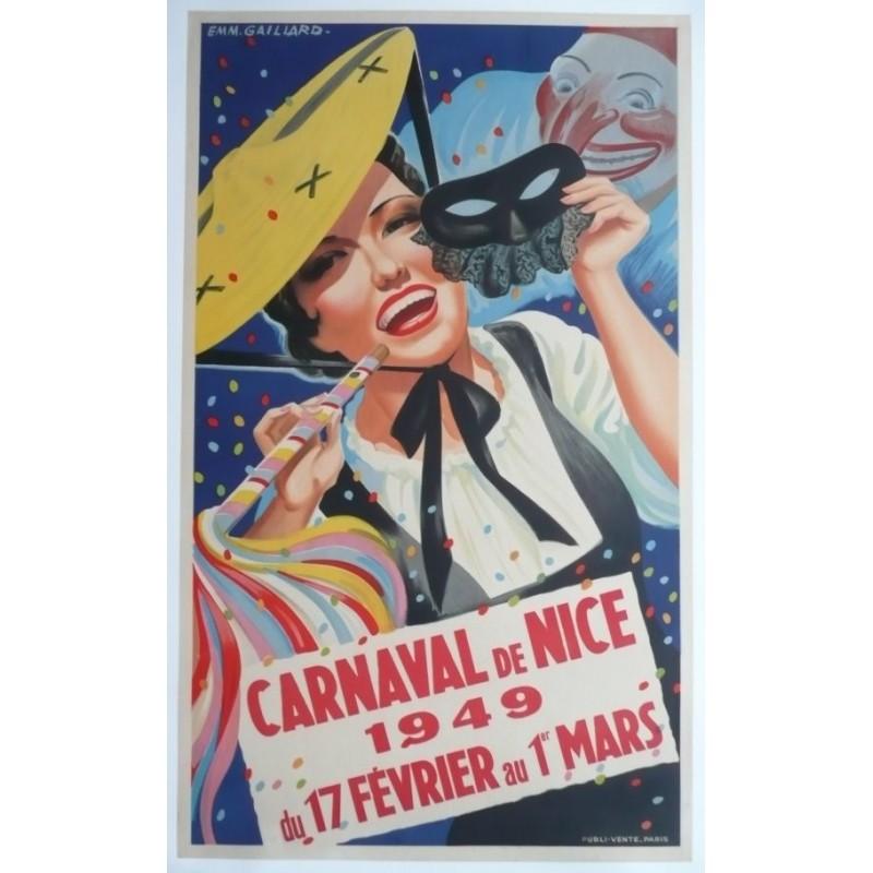 Original vintage poster Carnaval de Nice 1949 - Emmanuel GAILLARD
