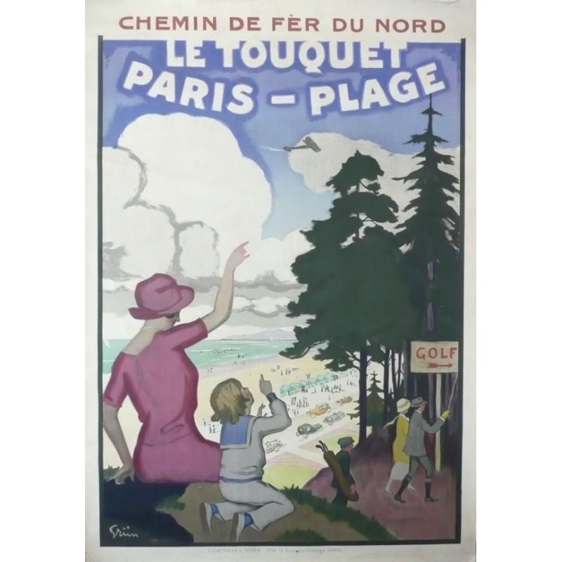 Affiche originale Le Touquet Paris Plage - Chemin de fer du nord - GRUN
