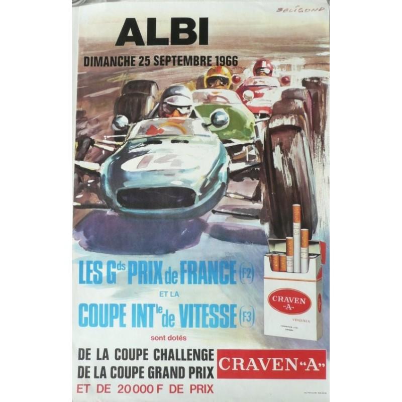 Affiche originale Albi Les grands prix de France 1966 - Michel BELIGOND