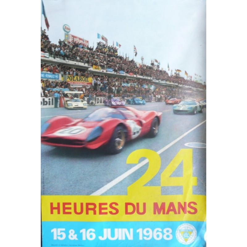 Affiche originale 24 heures du Mans 1968 Photo André Delourmel