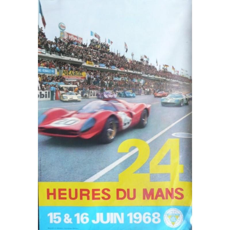 Original vintage poster 24 heures du Mans 1968 Photo André Delourmel