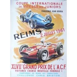 Original vintage poster XLVII Grand prix de l'ACF Reims 1961 - Jean DES GACHONS