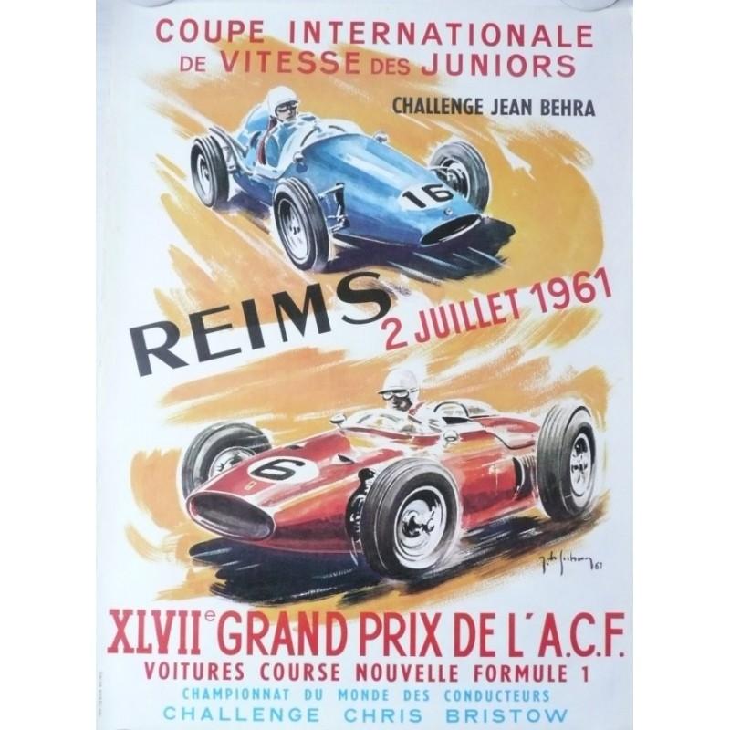 Affiche originale XLVII Grand prix de l'ACF Reims 1961 - Jean DES GACHONS