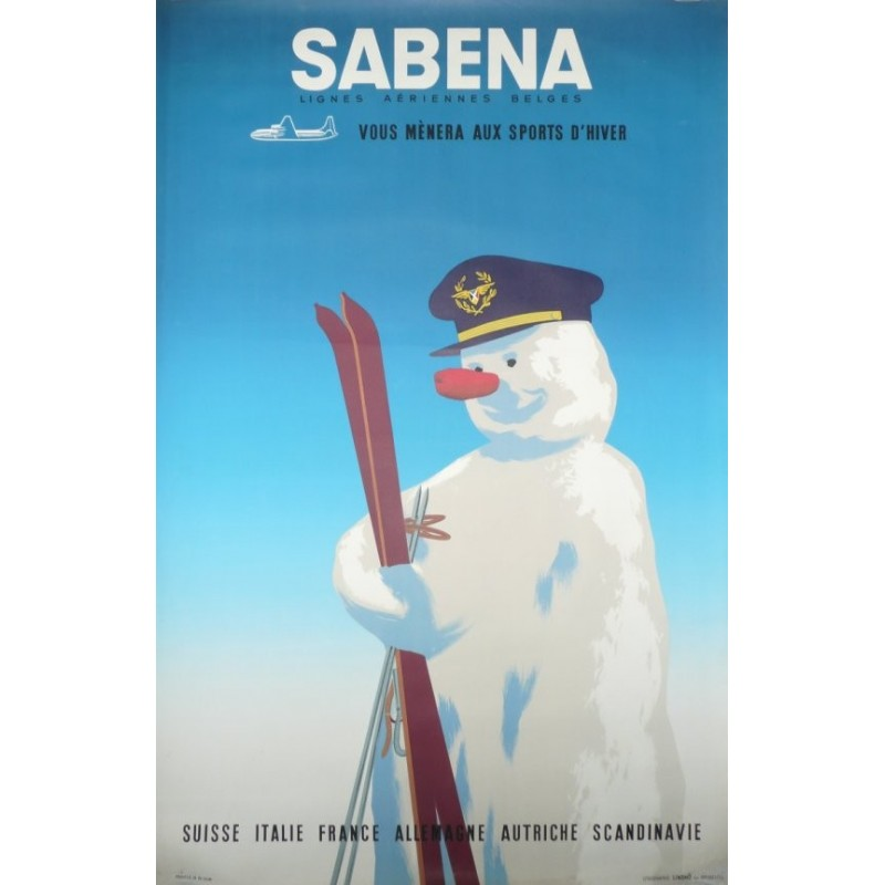 Affiche originale Sabena vous mènera aux sports d'hiver - circa 1955