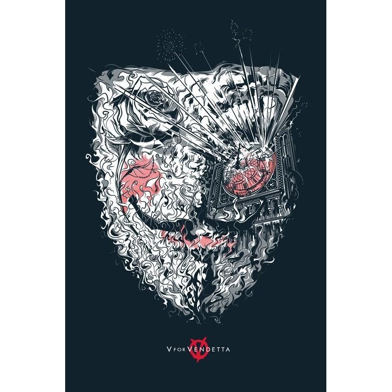 Original silkscreened poster limited edition V for Vendetta - Cesar MORENO - Gallery Mondo