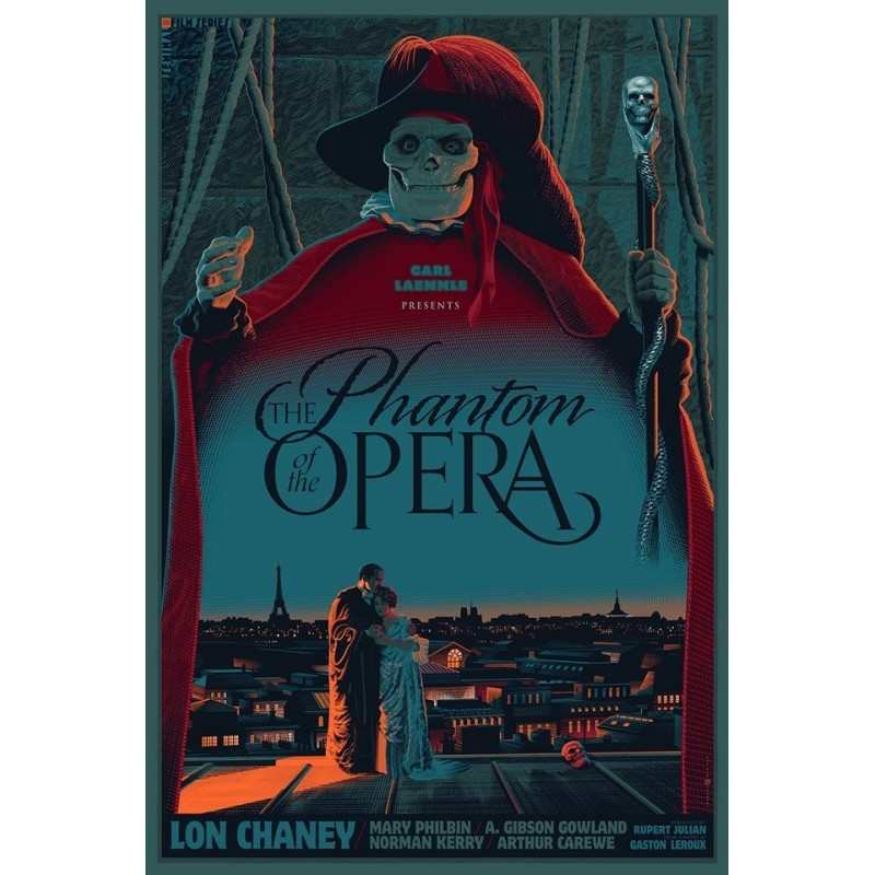Original silkscreened poster limited edition Phantom of the opera - Laurent DURIEUX - Gallery Dark Hall Mansion