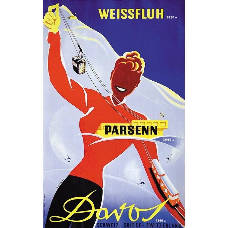 Affiche originale ski Davos Parsenn Switzerland - Martin PEIKERT