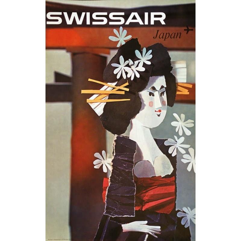 Affiche ancienne originale SWISSAIR Japan - Niklaus SCHWABE