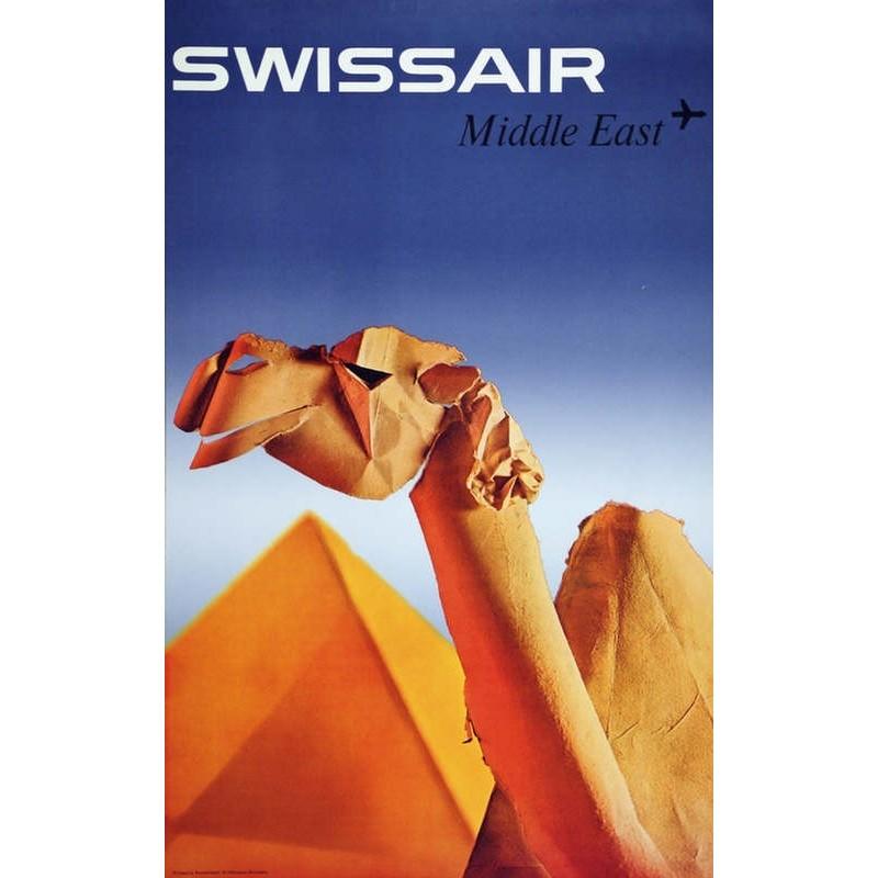 Affiche ancienne originale SWISSAIR Middle East - Niklaus SCHWABE