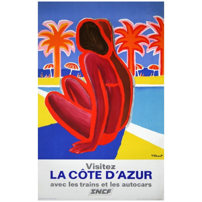 Affiche ancienne originale Visitez la Côte d'Azur SNCF - Bernard Villemot