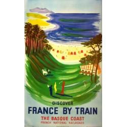 Affiche ancienne originale Discover France by train the basque coast  - Bernard Villemot