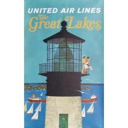 Affiche originale United Airlines The Great Lakes - Stan GALLI