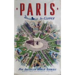 Affiche originale Pan American PARIS, arc de triomphe