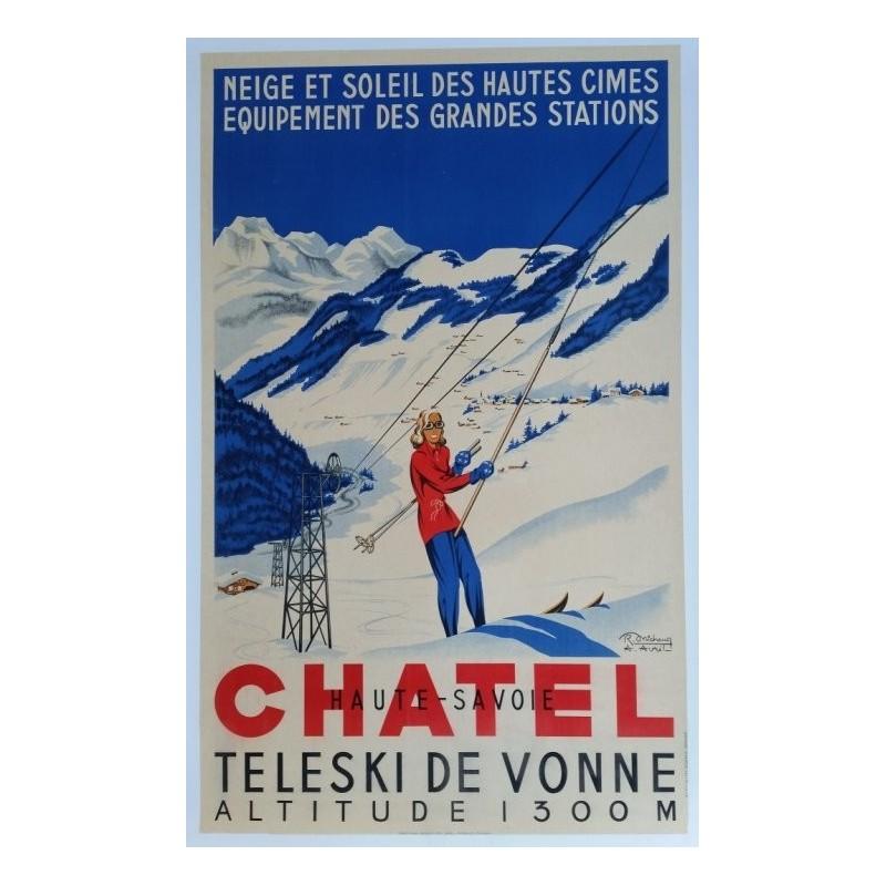 Affiche originale Châtel Haute Savoie - téléski de Vonne - R. MICHAUD & A. AVRIL