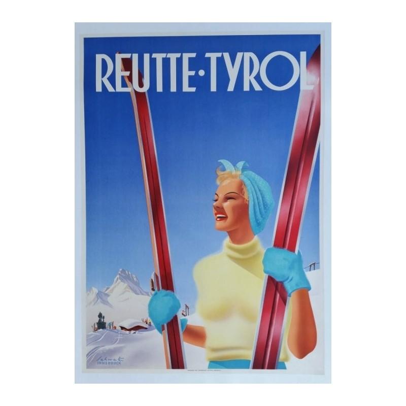 Affiche originale ski sport d'hiver Reutte Tyrol Autriche - Schwetz