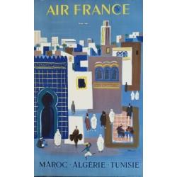 Affiche originale Air France Maroc Algérie Tunisie - Bernard Villemot