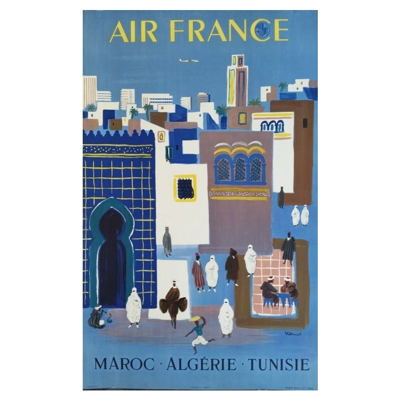 Original vintage poster Air France Maroc Algérie Tunisie - Bernard Villemot
