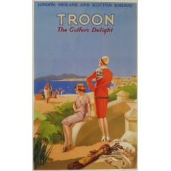 Original vintage poster golf Troon the golfer's delight - London Midland and Scottish railway