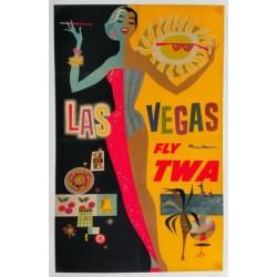 Affiche originale TWA Las Vegas avec avion Lockheed Constellation - David Klein