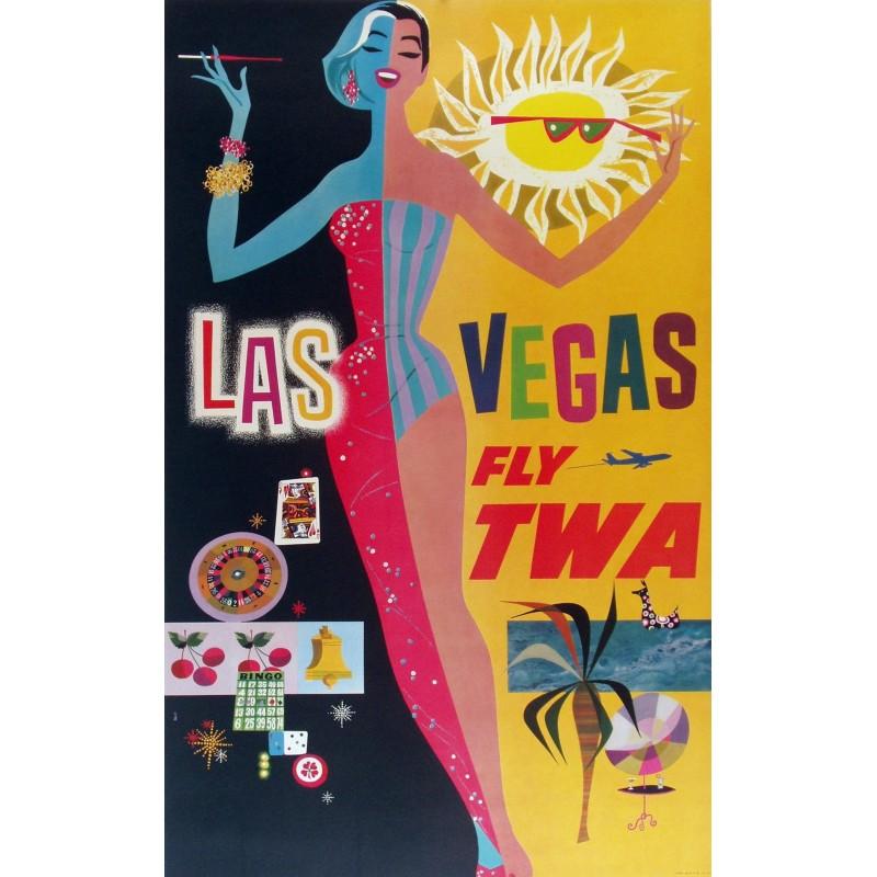 Affiche originale TWA Las Vegas - David Klein