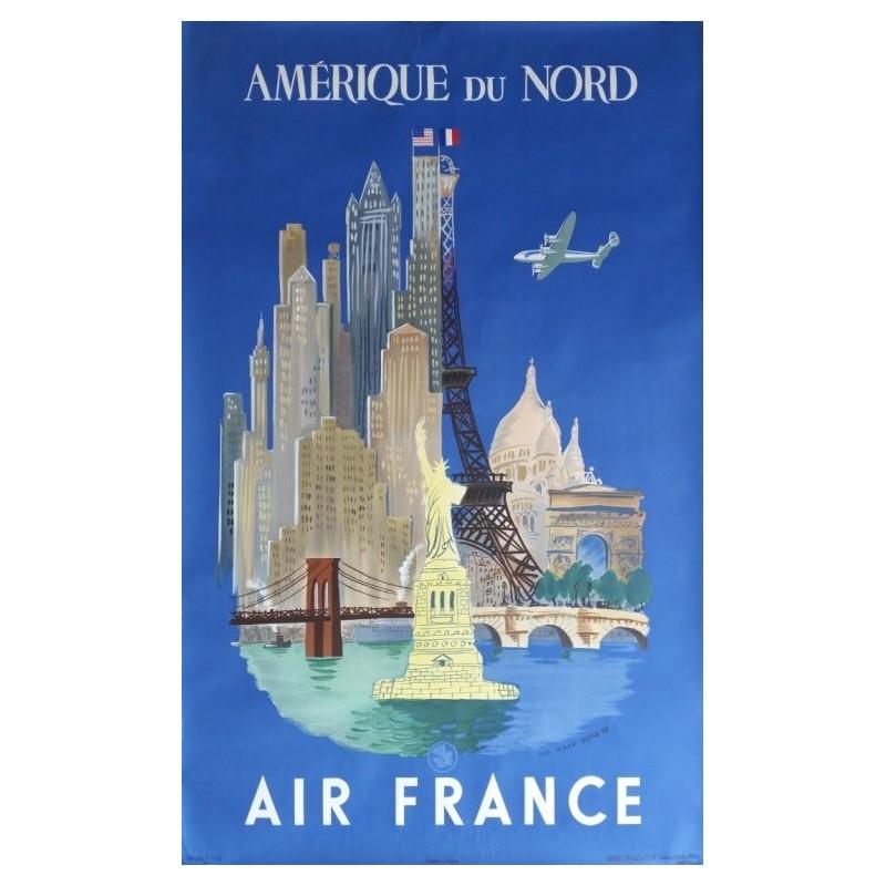 Affiche originale Air France Paris New-York Amérique du Nord - Luc Marie BAYLE - Ref 252 / P 7_48