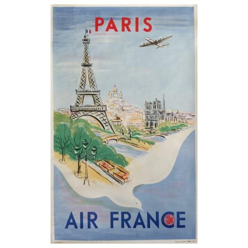 Affiche originale Air France Paris - Régis MANSET - Ref 170 - P/11 - 47