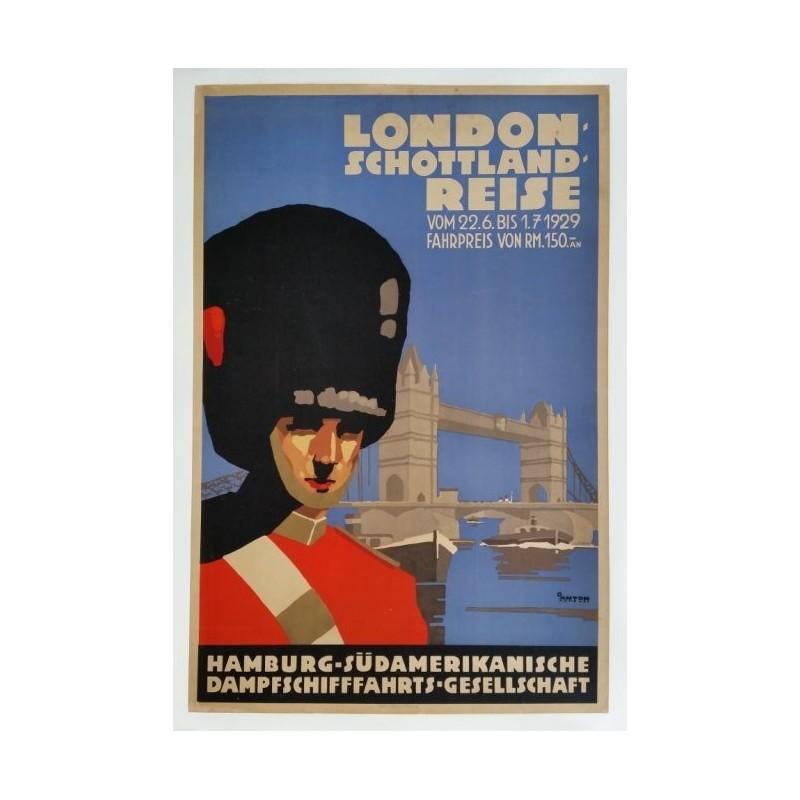 Original vintage poster London Schottland reise Tower bridge Horseguard - Otto ANTON