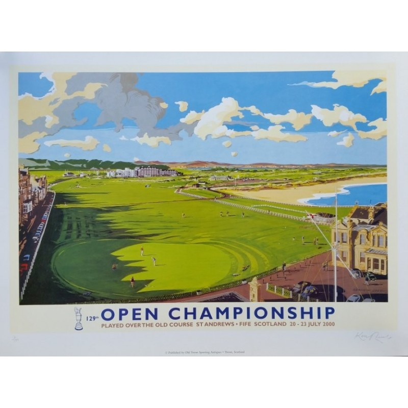 Original poster golf 129th open chamionship in 2000 at St Andrews 16 / 500 - hand signed by Kenneth Reed
