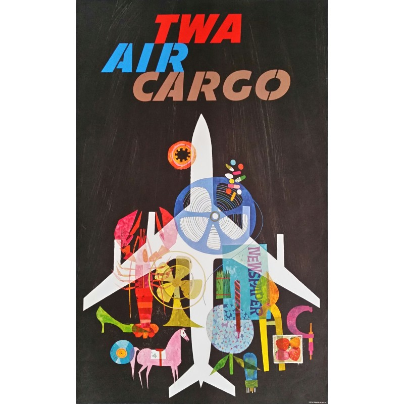 Original vintage travel poster TWA Air Cargo - David Klein