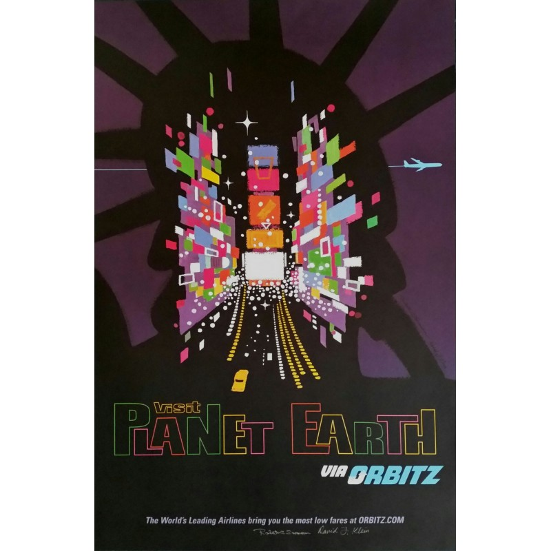 Original travel poster Visit Planet Earth via ORBITZ New York  Time Square - David Klein - Robert Swanson