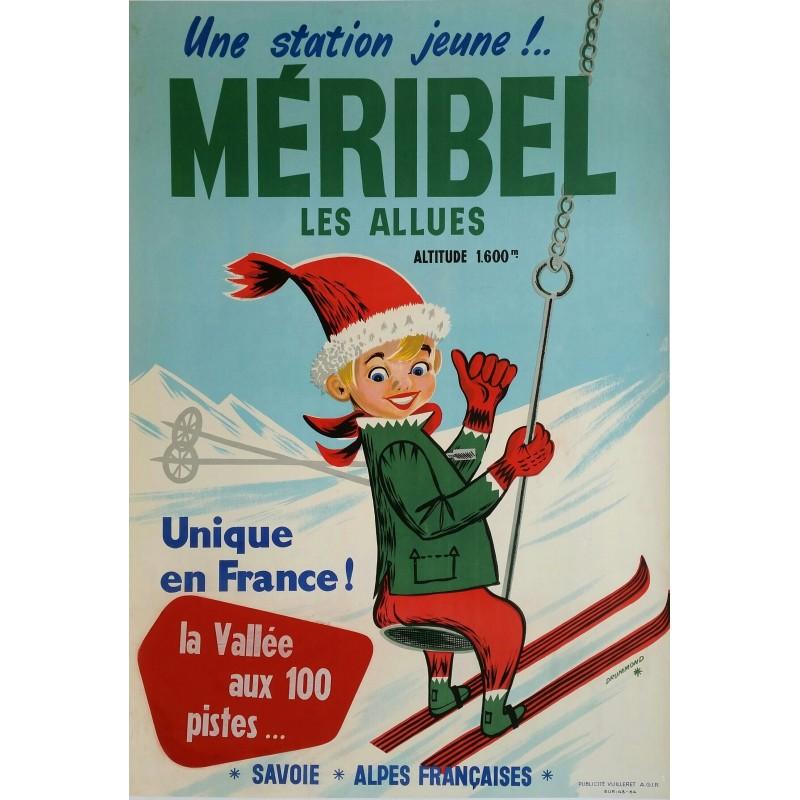 Affiche ancienne originale ski sports d'hiver Méribel Las Allues Savoie Alpes Française - DRUMMOND