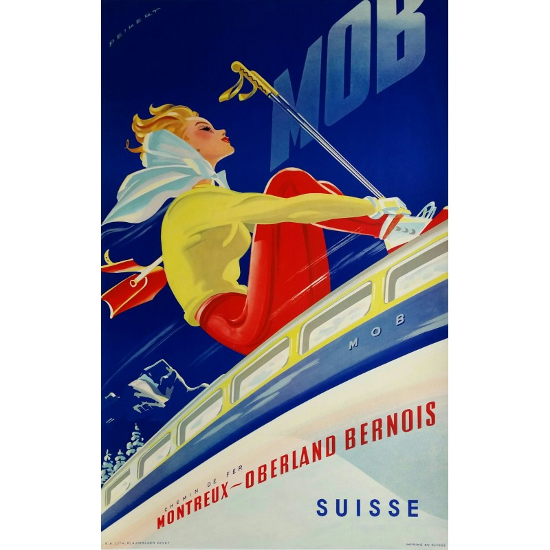 Affiche originale ski MOB Suisse - Martin PEIKERT