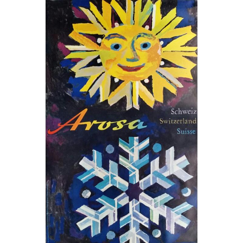 Affiche ancienne originale AROSA Schweiz Switzerland Suisse - Wolfgang HAUSAMANN