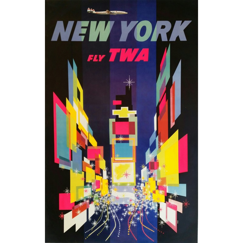 Affiche originale TWA New York - 1956 - David Klein