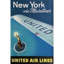 Original vintage poster United Airlines New York via Mainliner