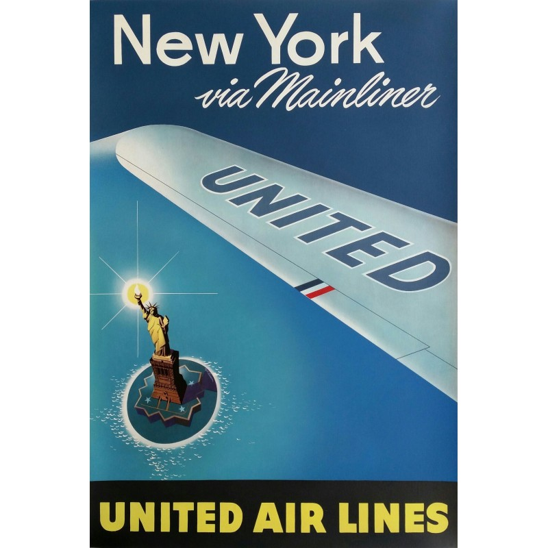 Affiche originale United Airlines New York via Mainliner