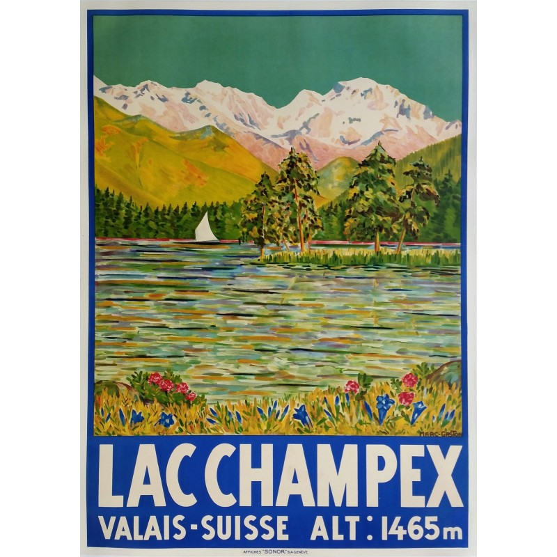 Original vintage poster Lac CHAMPEX Valais Suisse - Marc GASTON