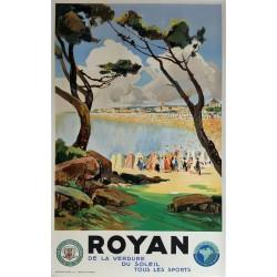 Affiche ancienne originale Royan Chemin de fer de l'état - Lucien PERI