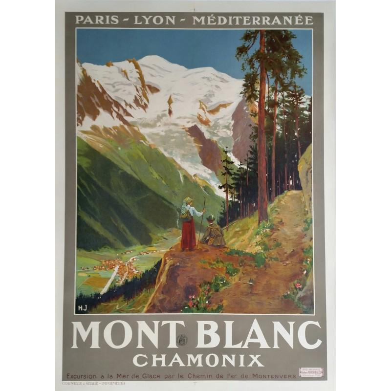 Affiche originale Mont Blanc CHAMONIX  PLM  Paris Lyon Méditerranée  - HJ
