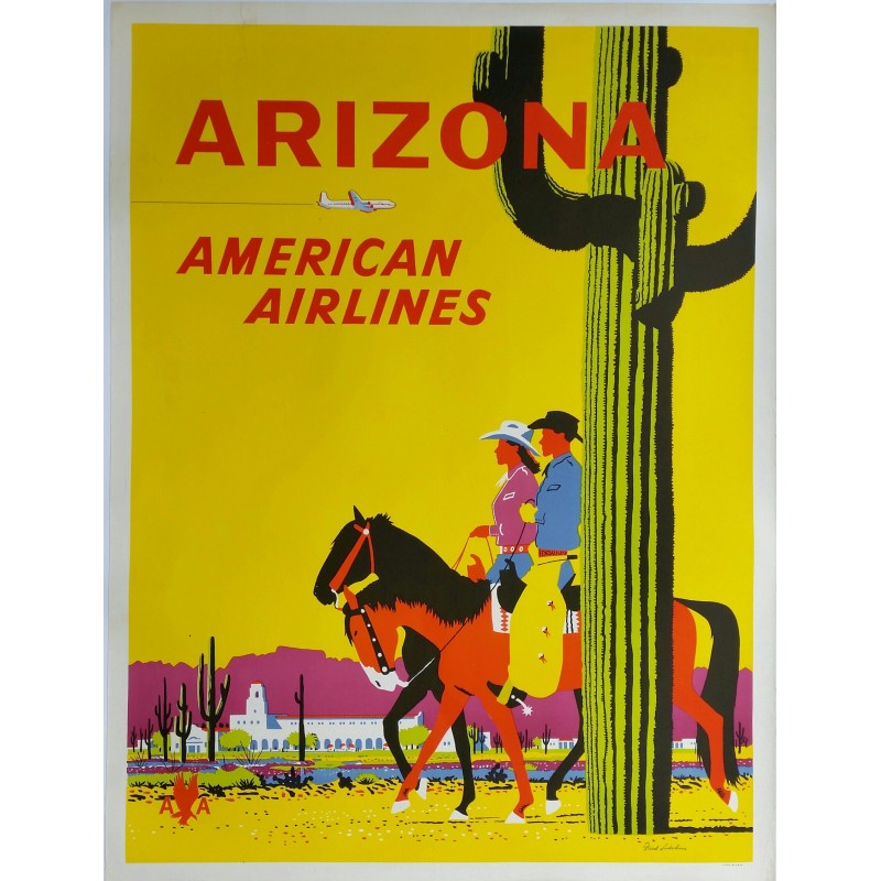 Affiche ancienne originale American Airlines Arizona - Fred Ludekens